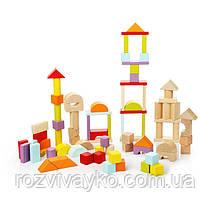 Детский деревянный конструктор Городок в ведре, 80 деталей, Cubika