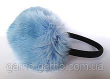 Наушники меховые Зимние кролик Нежно-голубой цвет