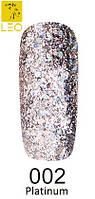 Гель-лак Leo Platinum №2    (блестки серебро с розовым отливом)