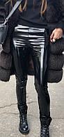 Лаковые Лакированые стрейчевые лосины Утепленные женские кожаные лосины, фото 1