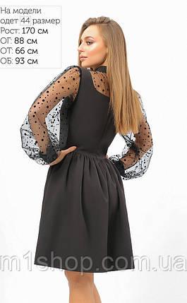 Женское черное расклешенное платье с сеткой (3316 lp), фото 2