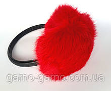 Наушники меховые Зимние кролик огненный Красный цвет