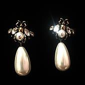 Великі сережки під стару бронзу з перлами