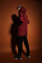 Мужская удлиненная зимняя куртка с капюшоном красная, фото 2