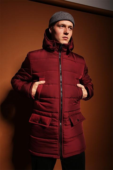 Мужская удлиненная зимняя куртка с капюшоном красная