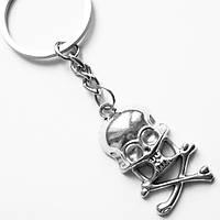 """Брелок для ключів """"Череп з кістками"""" (38х20 мм) під срібло., фото 1"""