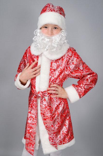 Новогодний костюм для мальчика детский Дед Мороз р. 32-34, 36-38