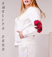 Турецкий стильный прогулочный спортивный костюм женский на молнии  , фото 1