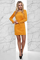 Стильное Сдержанное Платье из Эко-Замши со Шнуровкой на Рукавах Горчица S-XL, фото 1