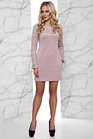 Стильное Сдержанное Платье из Эко-Замши со Шнуровкой на Рукавах Бежевое S-XL, фото 1
