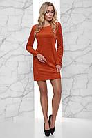 Стильное Сдержанное Платье из Эко-Замши со Шнуровкой на Рукавах Кирпичное S-XL, фото 1
