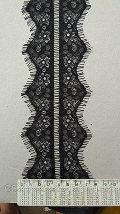 Кружево ажурное делимое 60 метров, чёрный. Кружево шантильи Французское с ресничками делимое, фото 2