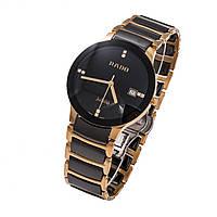 Наручные часы Rado Centrix Diamonds ceramic gold AAA кварцевые керамические с календарем даты