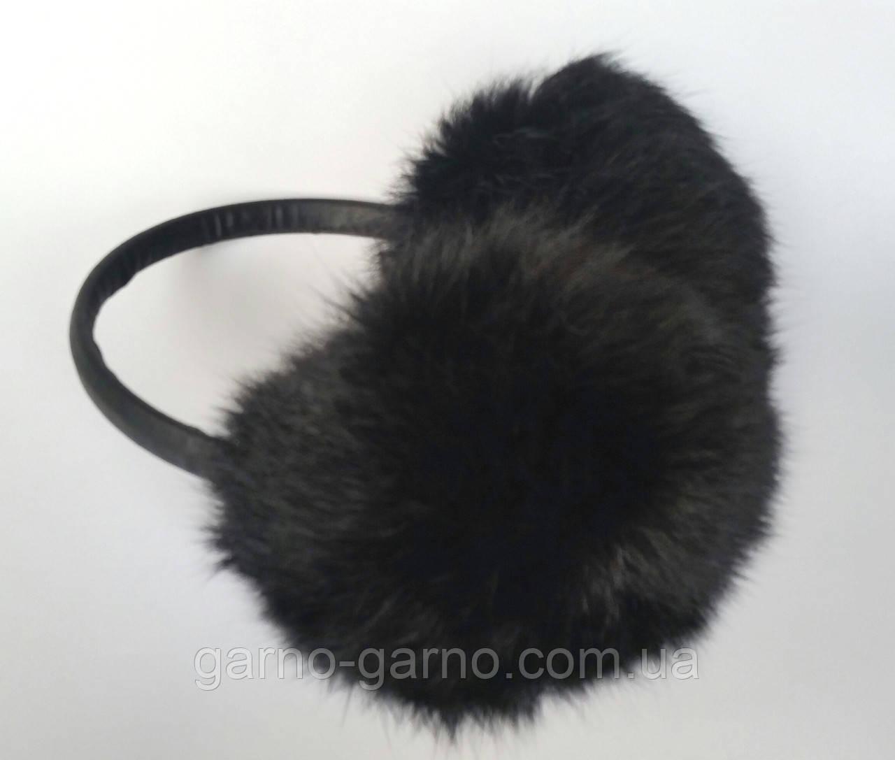 Наушники меховые Зимние кролик Черный цвет  продажа 9e07ba0748329