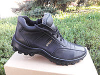 Зимние мужские кожаные ботинки 03 Б GRAS Размерный ряд: 40-45 черного цвета