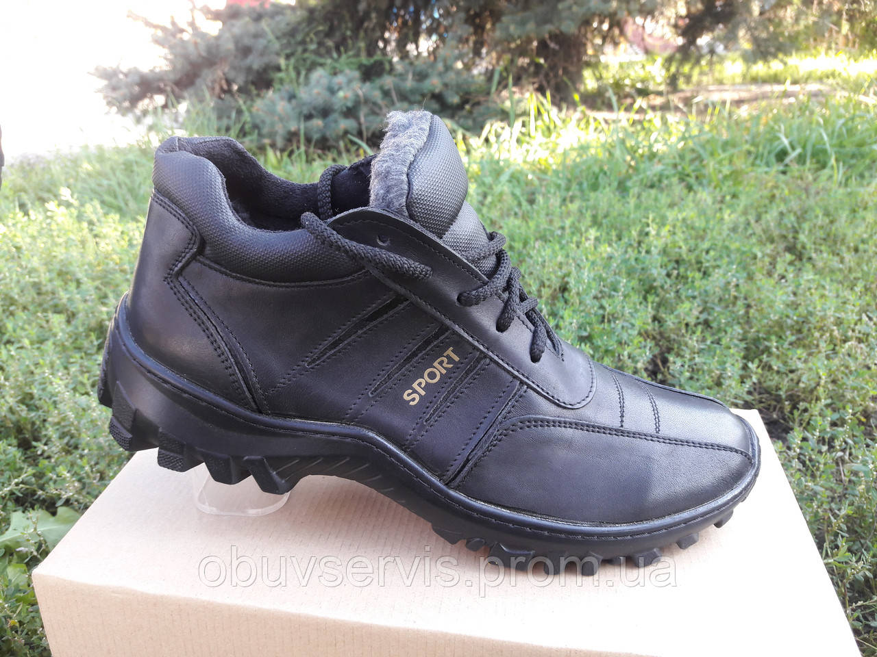 2b1cf4ffdb80 Зимние мужские кожаные ботинки 03 Б GRAS Размерный ряд: 40-45 черного  цвета: продажа, ...