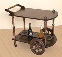 Стол сервировочный деревянный на колесах,Кемри темный орех