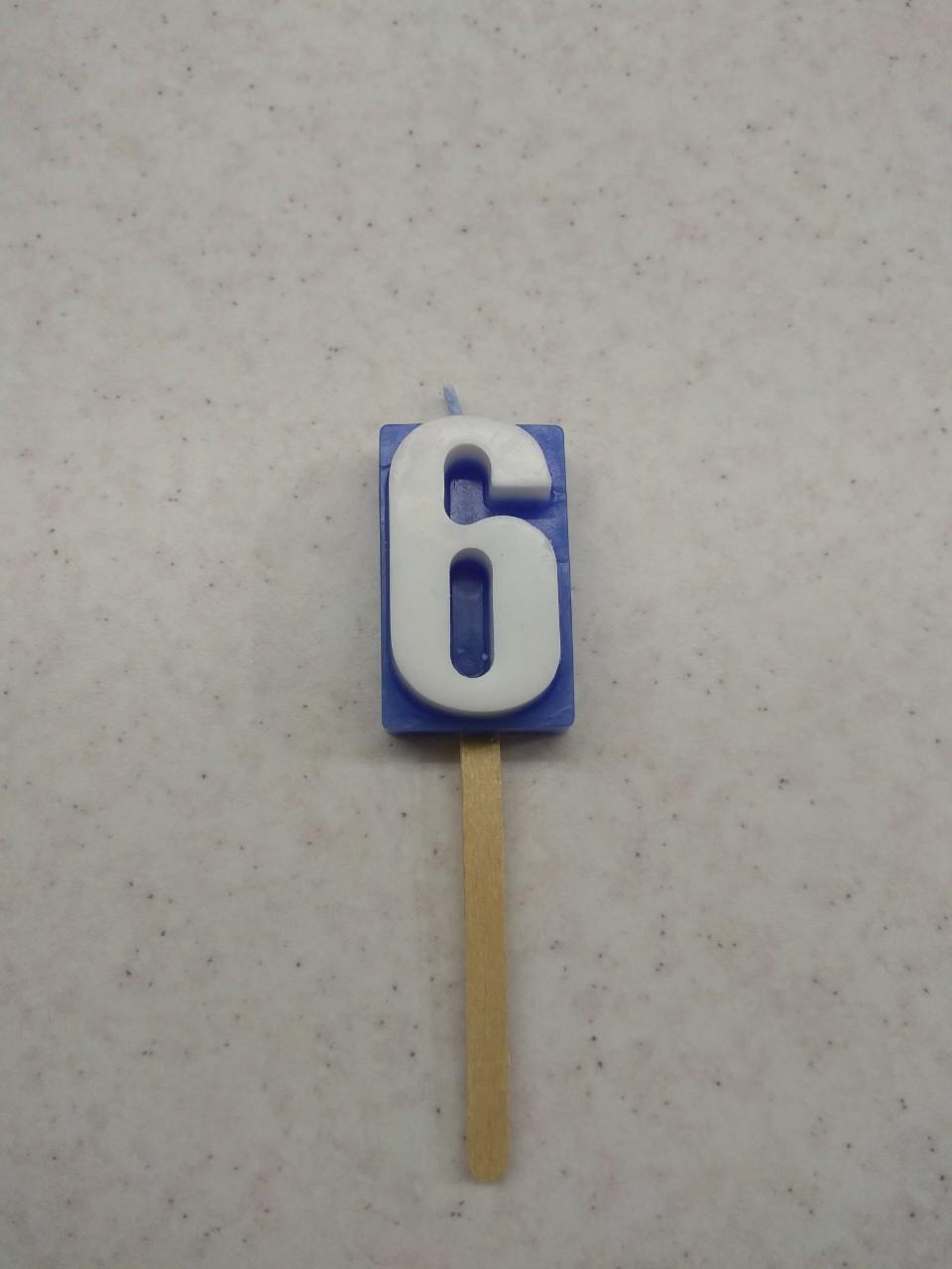 Свеча для торта цифра 6 цветная
