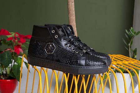 Мужские высокие ботинки Philipp Plein черные топ реплика, фото 2