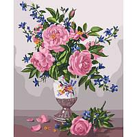 Картина по номерам Нежный букет роз 40*50 см, 2 уровень сложности