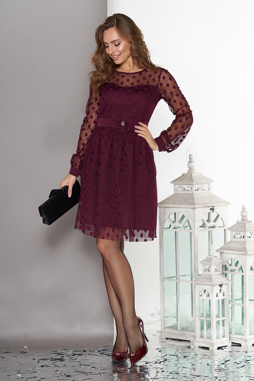 Вечернее платье бордовое в горошек с поясом