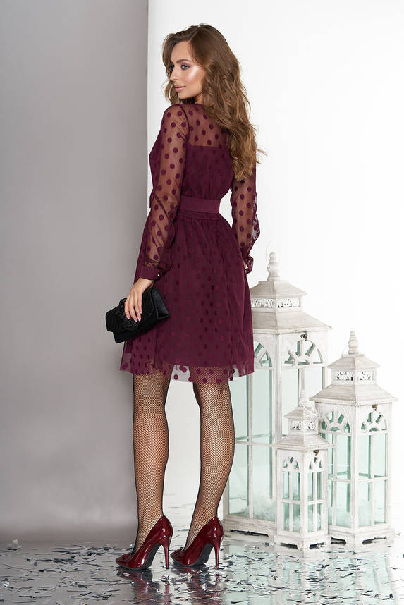 Нарядное вечернее платье в горошек бордо, фото 2