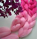 Канекалон ярко розовый нежно розовый омбре для причёсок, для кос брейд, фото 2