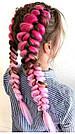 Канекалон ярко розовый нежно розовый омбре для причёсок, для кос брейд, фото 5