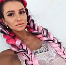 Канекалон ярко розовый нежно розовый омбре для причёсок, для кос брейд, фото 6