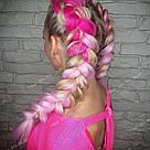 Канекалон ярко розовый нежно розовый омбре для причёсок, для кос брейд, фото 7