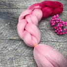 Канекалон ярко розовый нежно розовый омбре для причёсок, для кос брейд, фото 8