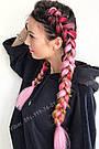 Канекалон ярко розовый нежно розовый омбре для причёсок, для кос брейд, фото 9