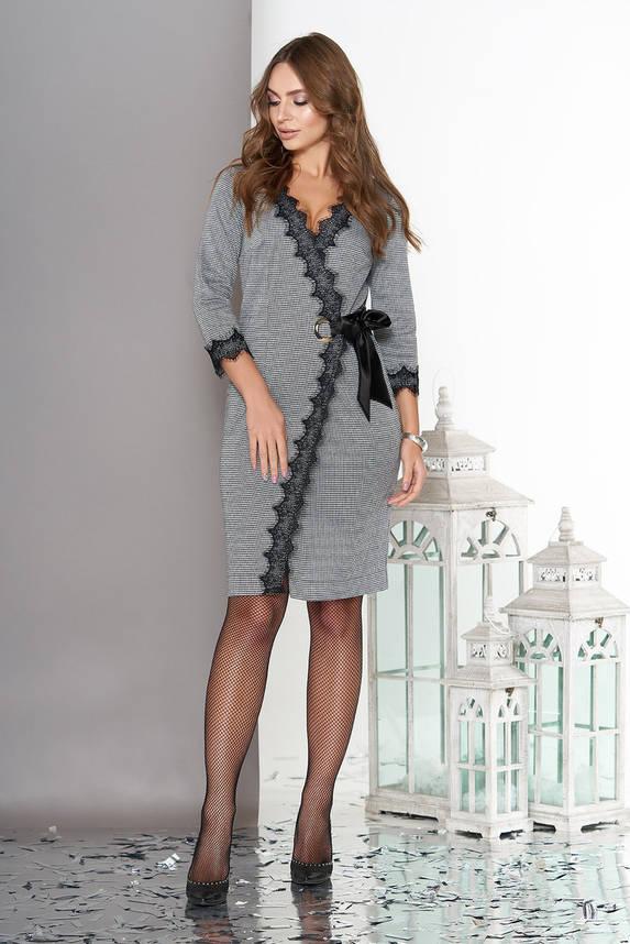 Женское платье на запах трикотажное с кружевом, фото 2