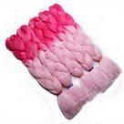 Яркие косы канекалона, коса розовое омбре, фото 6