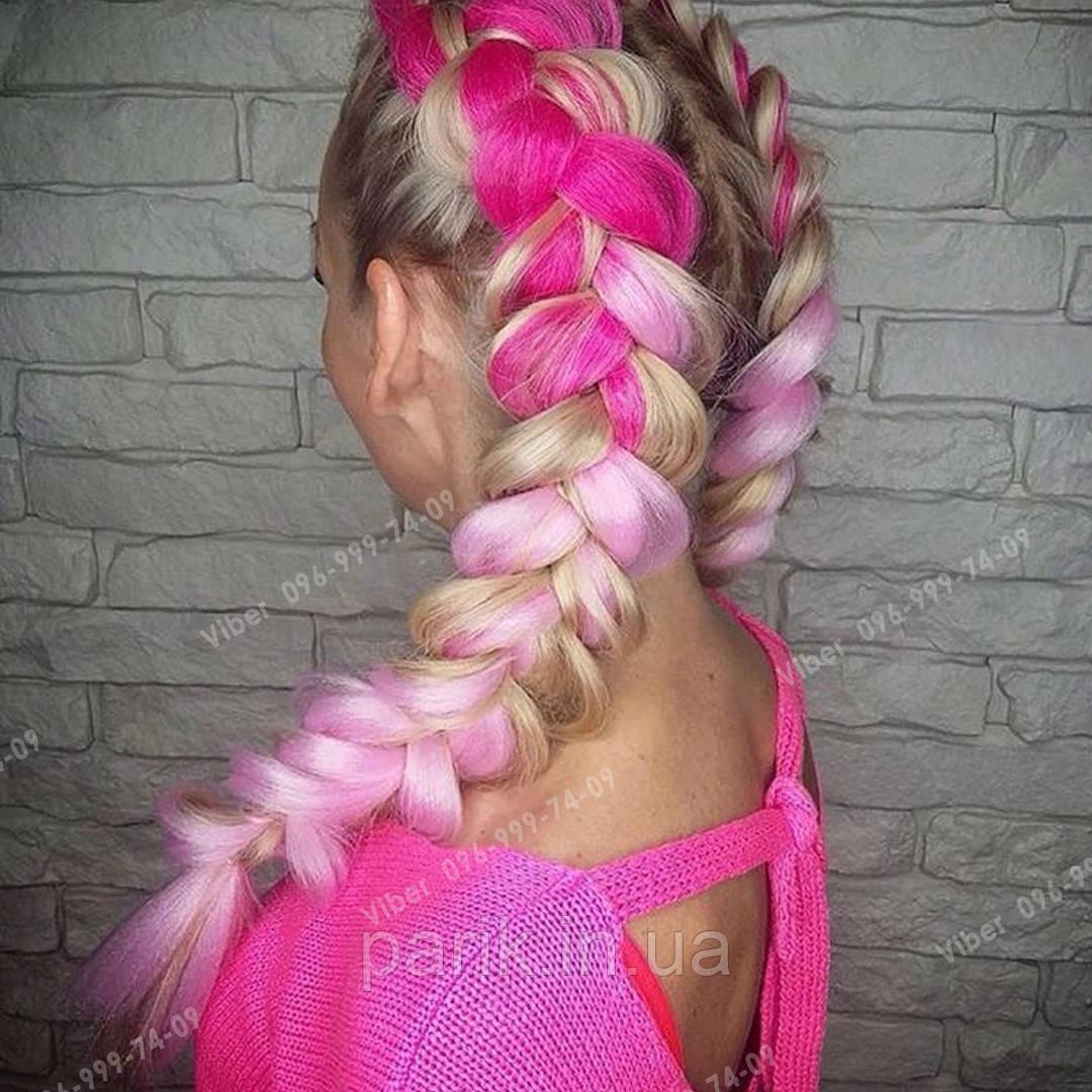 Яркие косы канекалона, коса розовое омбре