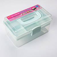 Органайзер (Коробка для мелочей) пластиковая средняя, прозрачный с зеленым