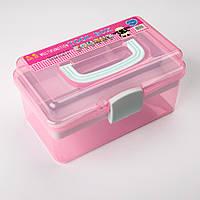 Органайзер (Коробка для мелочей) пластиковая средняя, розовый с зеленым