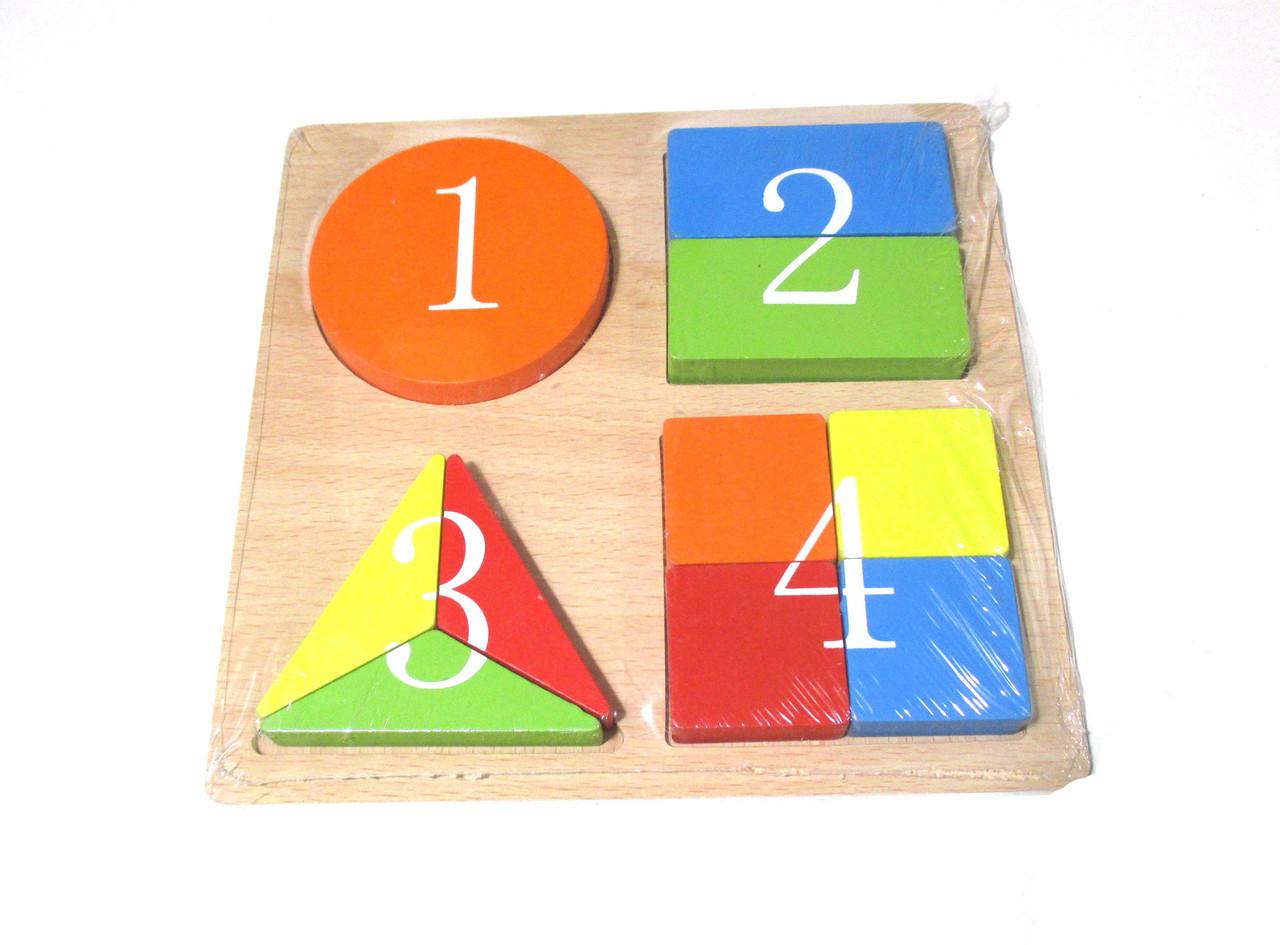 Деревянная рамка-вкладыш, геометрия, цифры, дроби, цвета С 30304