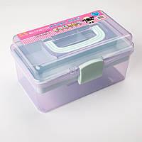 Органайзер (Коробка для мелочей) пластиковая средняя, фиолетовый с зеленым