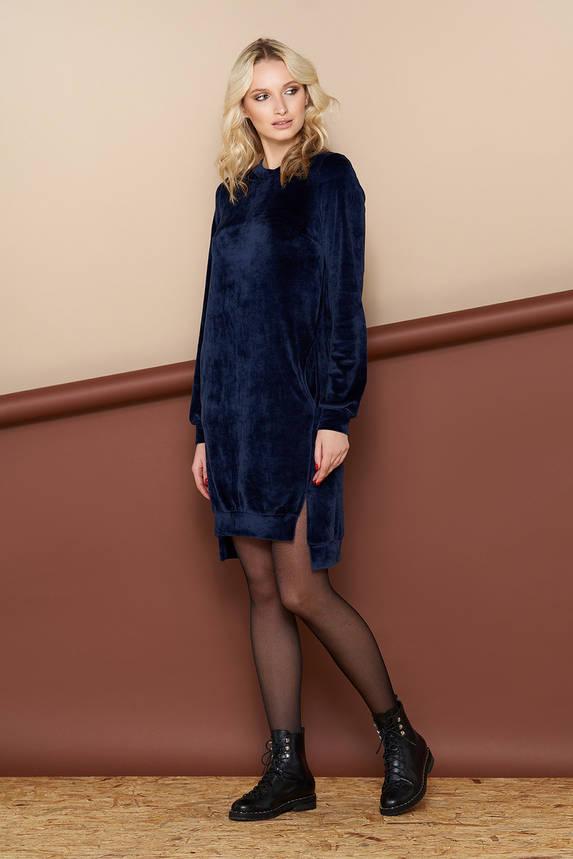 Велюровое платье миди синее, фото 2