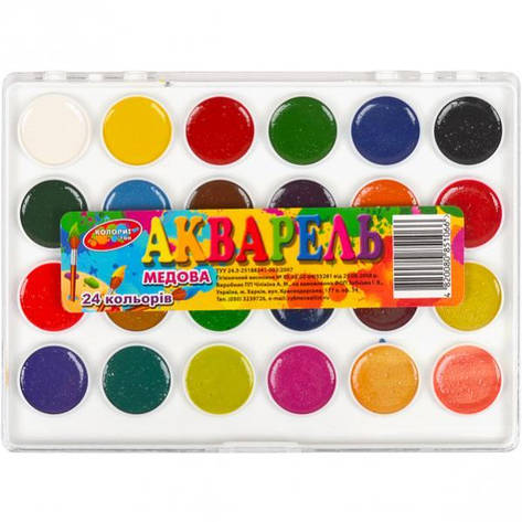 Акварель 24 цвета «Колорит тон» пластик 18,5×13,5 см, фото 2