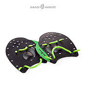 Распродажа! Силовые лопатки для плавания Mad Wave Paddles PRO(Black/Green)