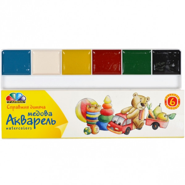 Акварель 6 цветов картон «Гамма» 17×4,5 см