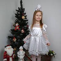 Карнавальный костюм для девочки Снежинка с короной 104-122 р