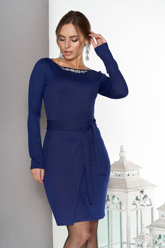 Элегантное платье с юбкой на ложный запах синее, фото 2