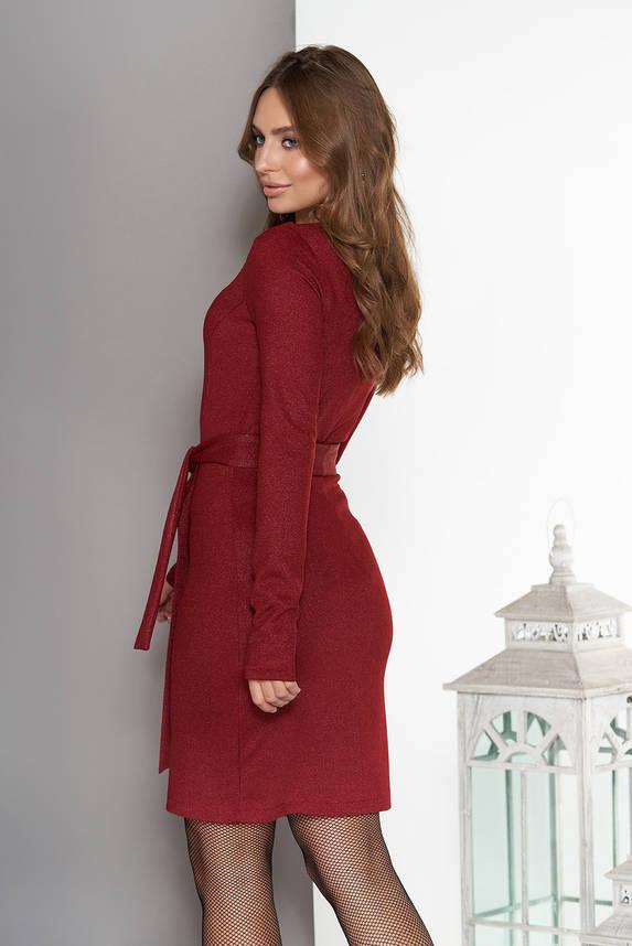 Платье миди с юбкой на ложный запах бордо, фото 2