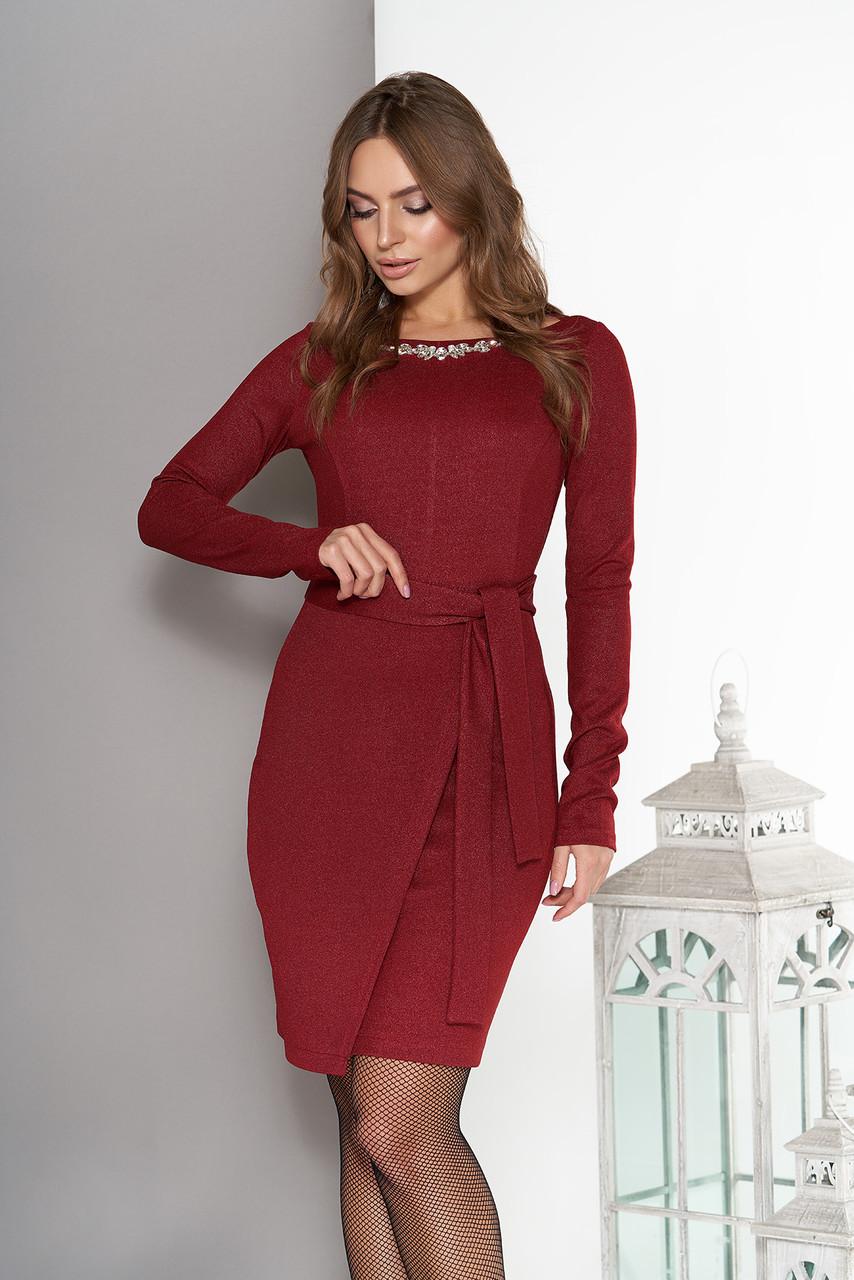 Платье миди с юбкой на ложный запах бордо