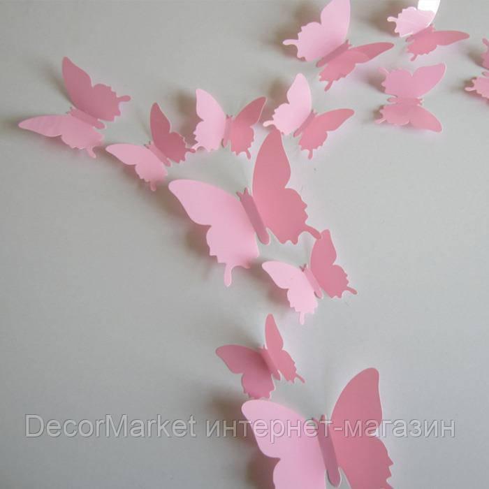 Набор бабочек 3D на скотче, РОЗОВЫЕ однотонные