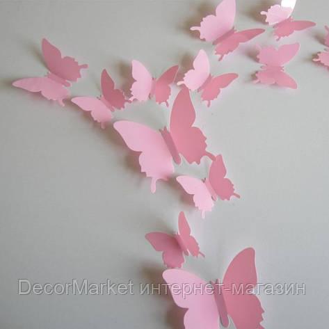 Набор бабочек 3D на скотче, РОЗОВЫЕ однотонные, фото 2
