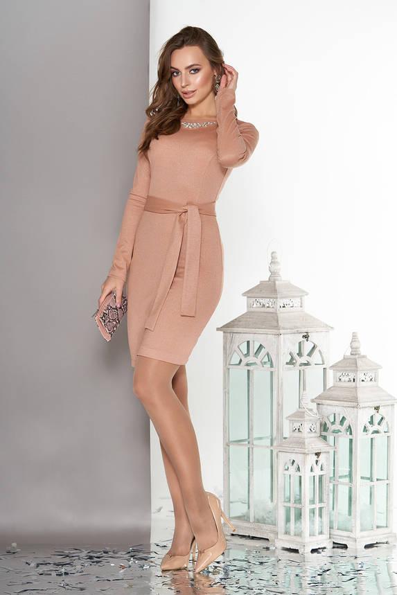 Элегантное платье с юбкой на ложный запах бежевое, фото 2